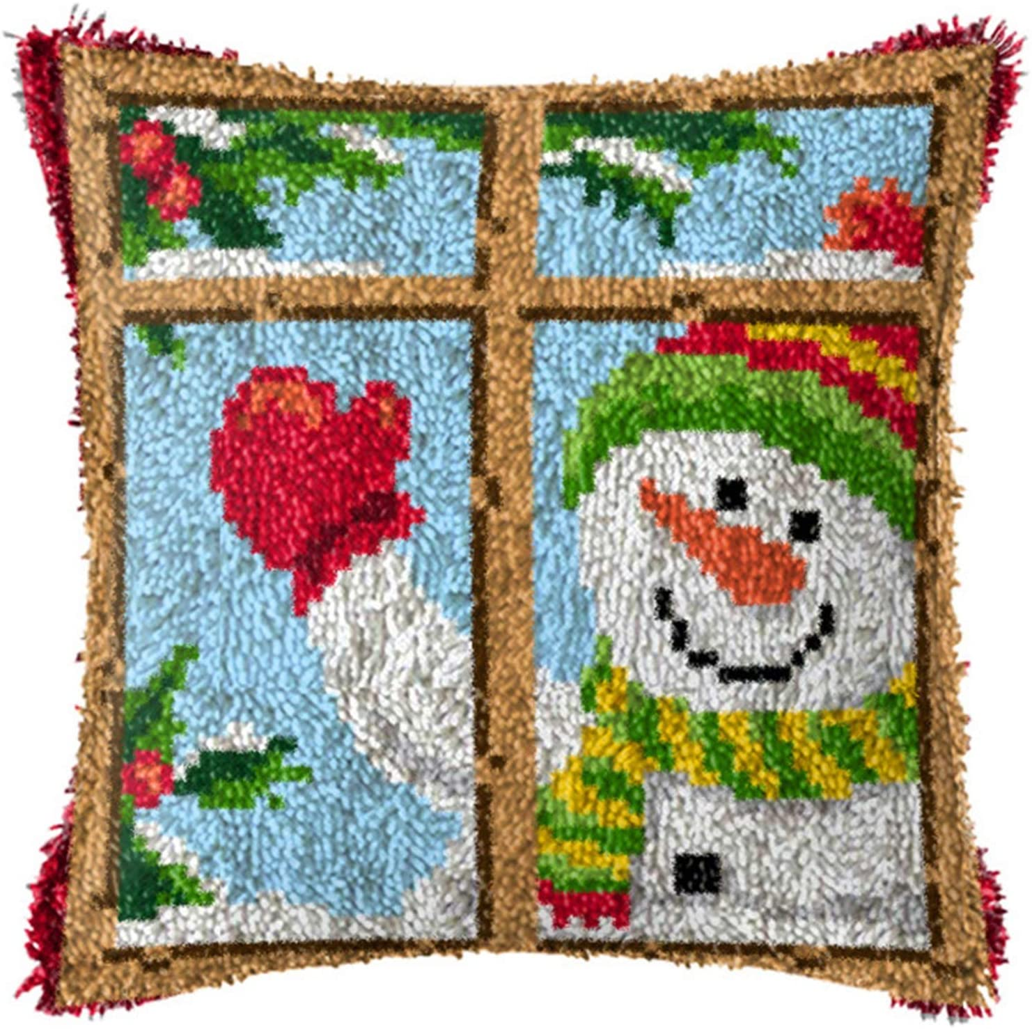 QJBMEI Latch Hook Kits, Snowman Printed DIY Pillow Cover Making Crafts Kit with Canvas for Kids/Adults and Beginner, 16.9X16.9 Inch,Bz632,43 × 43CM
