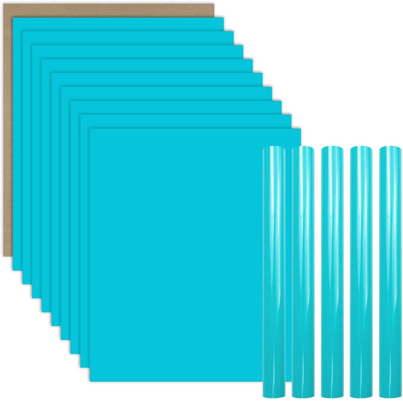 YRYM HT Water Blue Heat Transfer Vinyl Bundle : 15 Pack 12
