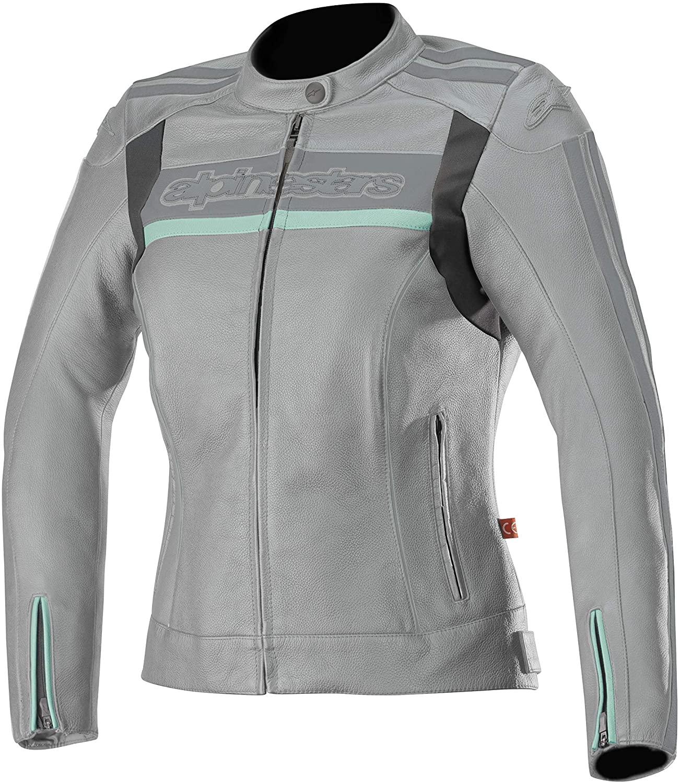 Stella Dyno v2 Leather Street Motorcycle Jacket (46 EU, Cool Gray Aqua)
