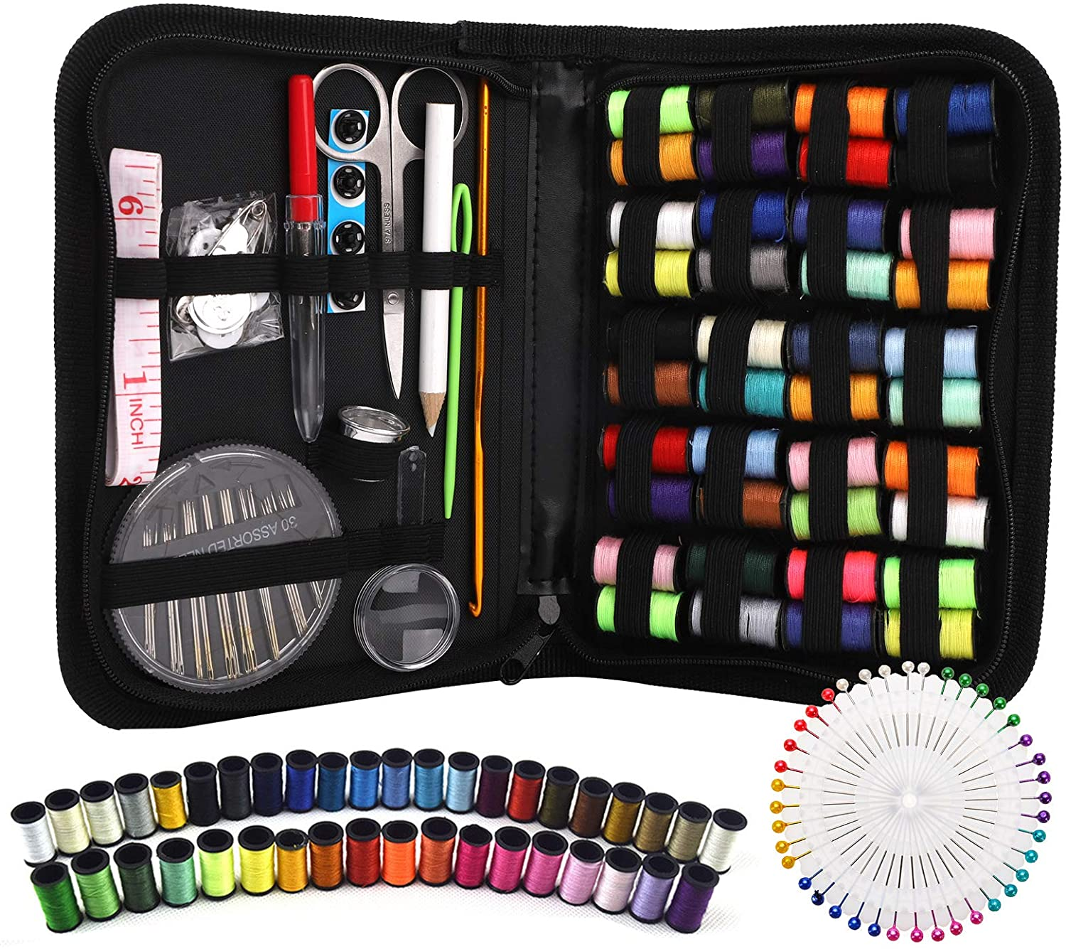 BCMRUN Sewing Crochet Kit,Portable Complete Needle Thread Kit with Zipper,Emergency Sewing Repair Organizer Incudes Threads Scissors Crochet Thimble Knitting Accessories for Traveler Beginners (S)