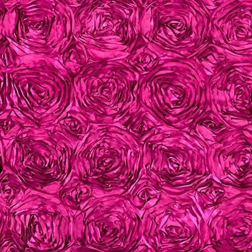 AK Trading 54-Inch Wide Premium Satin Rosette 3D Rose Design Ribbon Fabric (Fuchsia, 1 Yard)