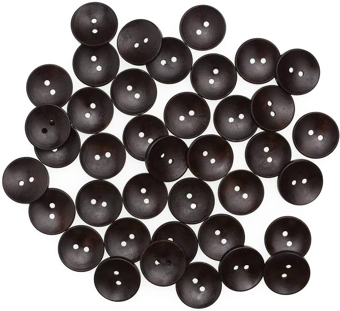 50 Pcs Black 1 Inch Wooden Buttons for Sewing Round Large Buttons for Crafts Vintage 2 Hole Buttons for Overcoat Sweater DIY and Clothing Accessories Wood 25mm Buttons Bulk for Clothes