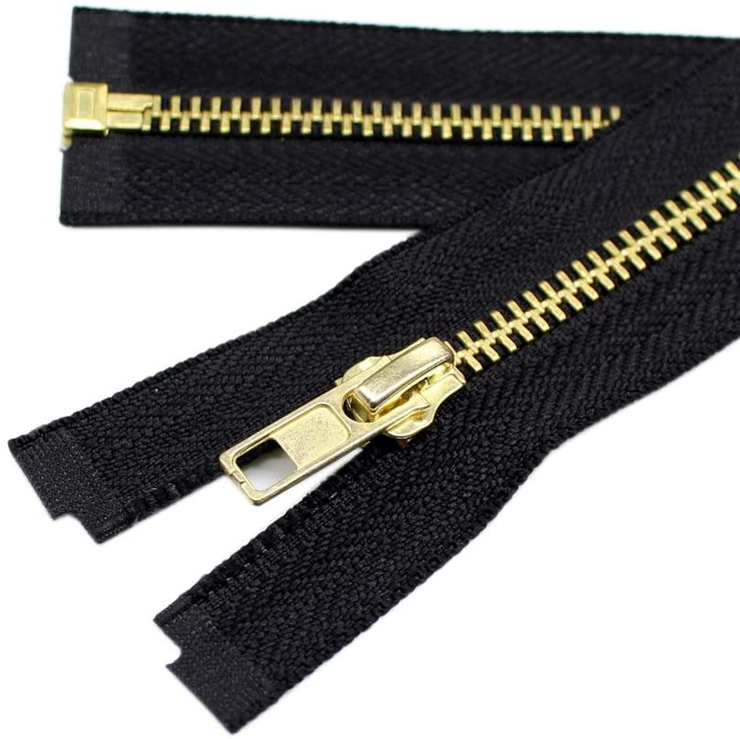 YaHoGa 2PCS #5 28 Inch Brass Separating Jacket Zipper Metal Zippers for Jackets Coats Sewing Crafts Bulk (28