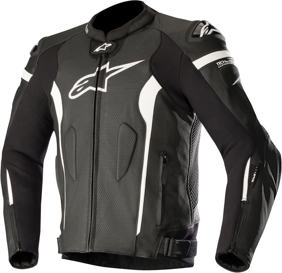 Alpinestars Men's Missile Leather Motorcycle Jacket Tech-Air Compatible, Black/White, 50