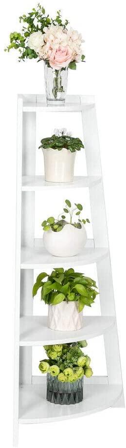 MARSPOWER Corner Shelf, 5 Tier Ladder Shelves, Display Corner Storage Rack for Photos, Houseplants, Collectibles, or as Corner Bookcase Plant Shelves, 15.6