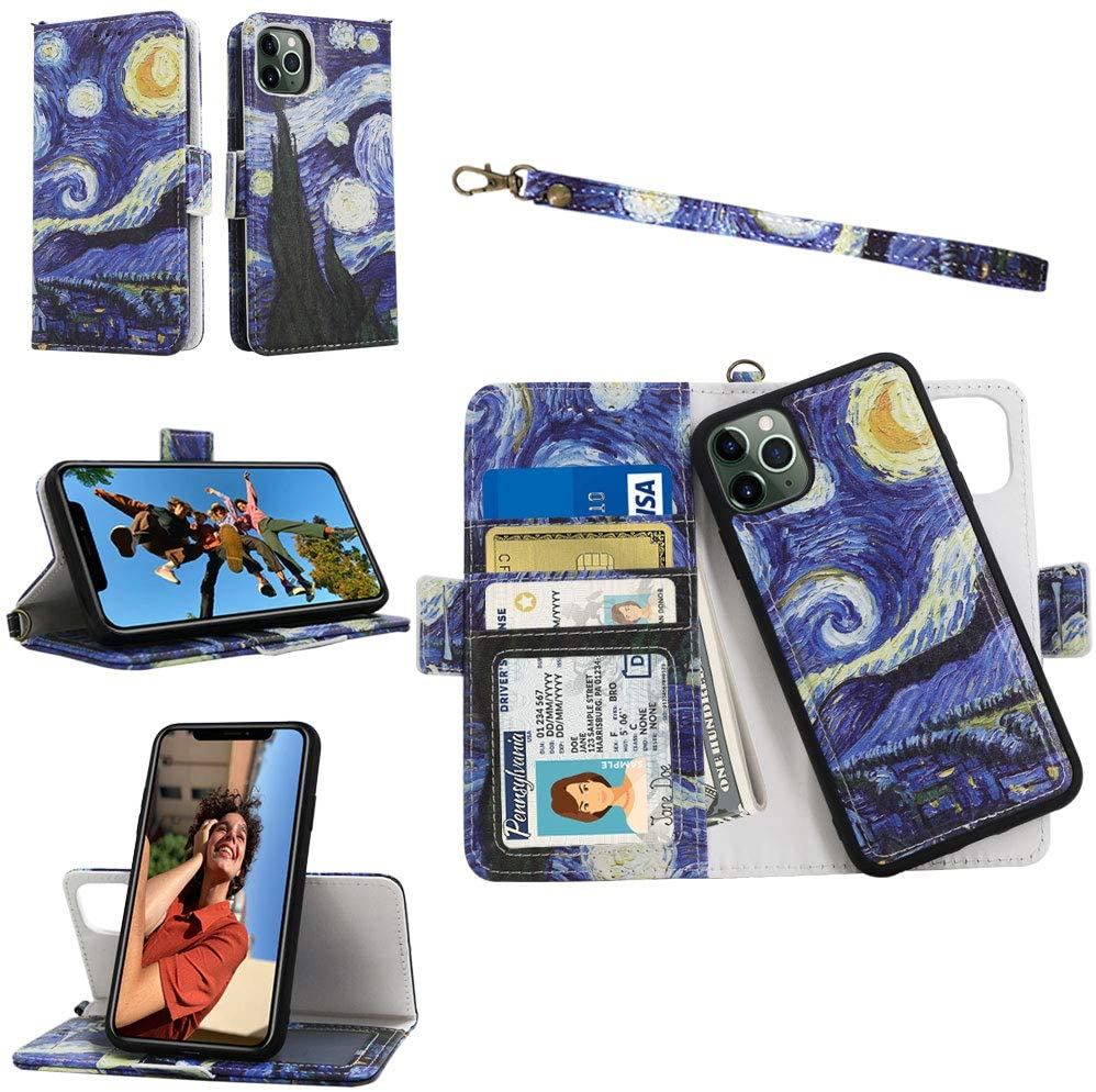 Samgg iPhone 11 Pro Max Detachable Wallet Case with Tempered Glass and Wrist Strap, 2-Way Stand, Card Slot, Magnetic Closure, Durable Leather Folio Flip Case for Apple iPhone 11 Pro Max (Starry Night)