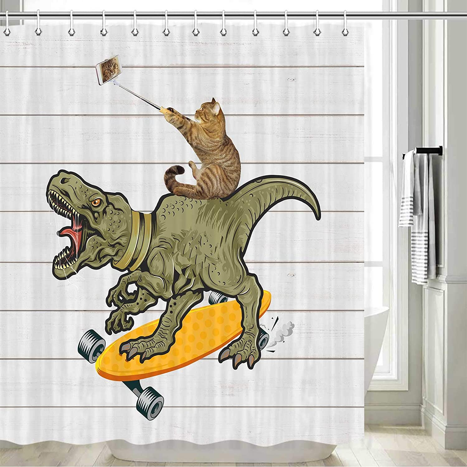 DYNH Funny Shower Curtain, Funny Cartoon Cat Riding Dinosaurs for Children Kids Fabric Cat Shower Curtain, Funny Cat Fun Shower Curtain Sets, Hooks Included, 70 in