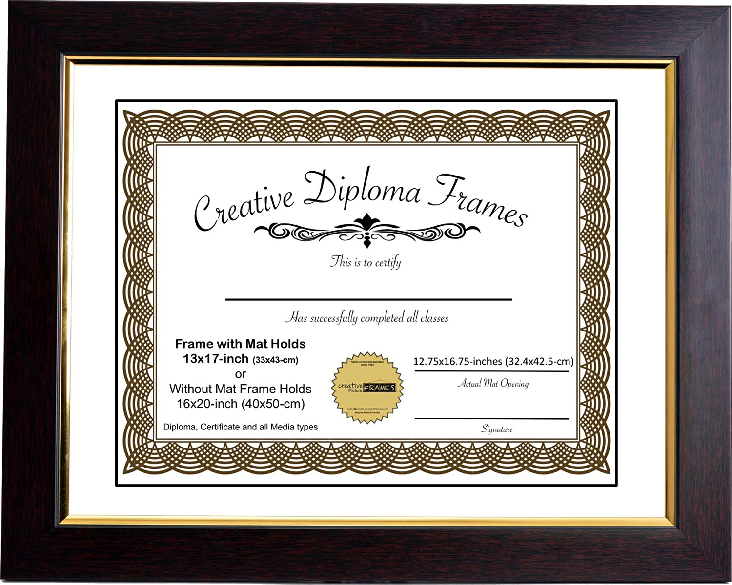 Creative Picture Frames 13x17 Eco Mahogany Diploma Frame with Gold Lip White Mat Glass and Installed Wall Hangers   Frame Holds 16x20 Media Without Mat