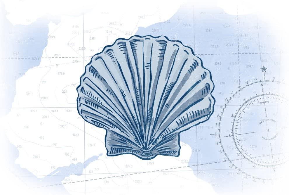 Scallop Shell - Blue - Coastal Icon (12x18 Art Print, Wall Decor Travel Poster)