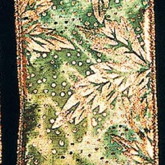 The Ribbon People Jade and Copper Foliage Print Taffeta Wired Craft Ribbon 2.5