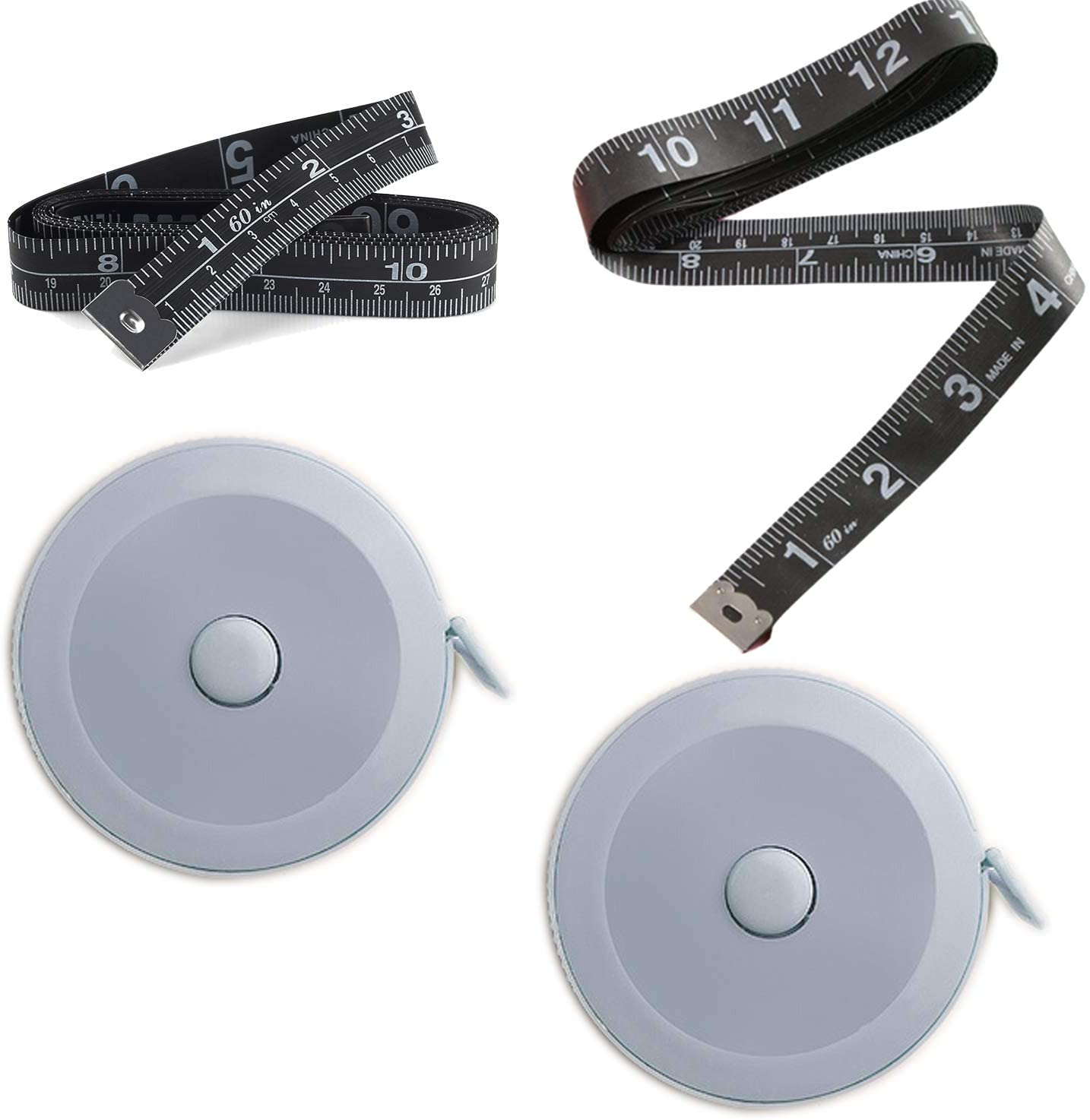 4 Pack Tape Measure Measuring Tape for Body Fabric Sewing Tailor Cloth Knitting Home Craft Measurements, 60-Inch Soft Retractable Black Tape Measure Body Measuring Tape Set, Dual Sided (Blue)