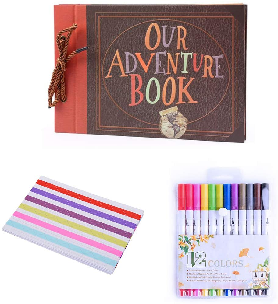 Our Adventure Book Scrapbook Handmade Photo Album DIY Memory Book for Anniversary Wedding Travelling Baby Shower Thanksgiving Day Christmas Valentines Day Gifts (Our Adventure nbook)