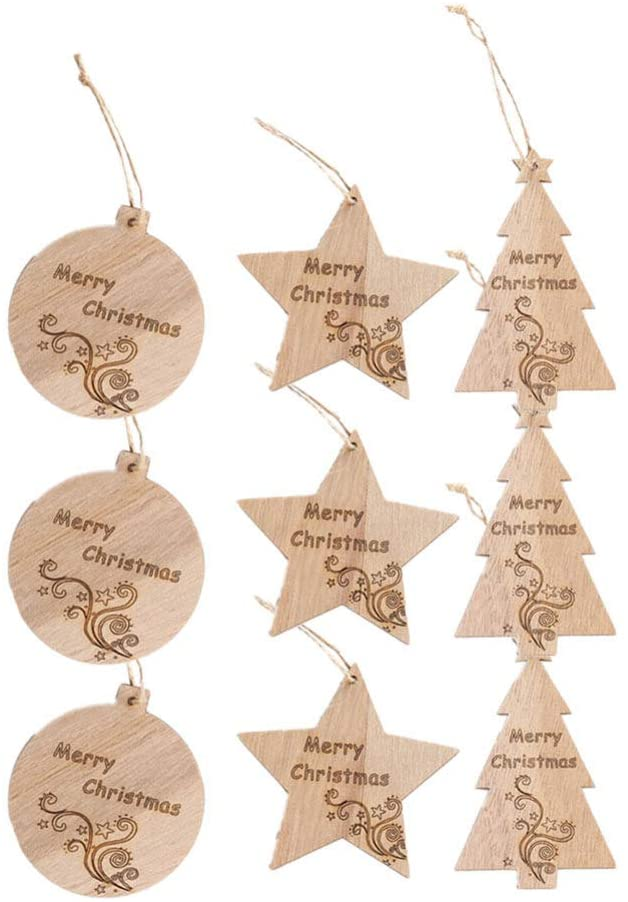 Amosfun Christmas Tree Hanging Wood Ornaments Star Decorations Unfinished Wood Slice Embellishments DIY Decorations for Mall Garden Home
