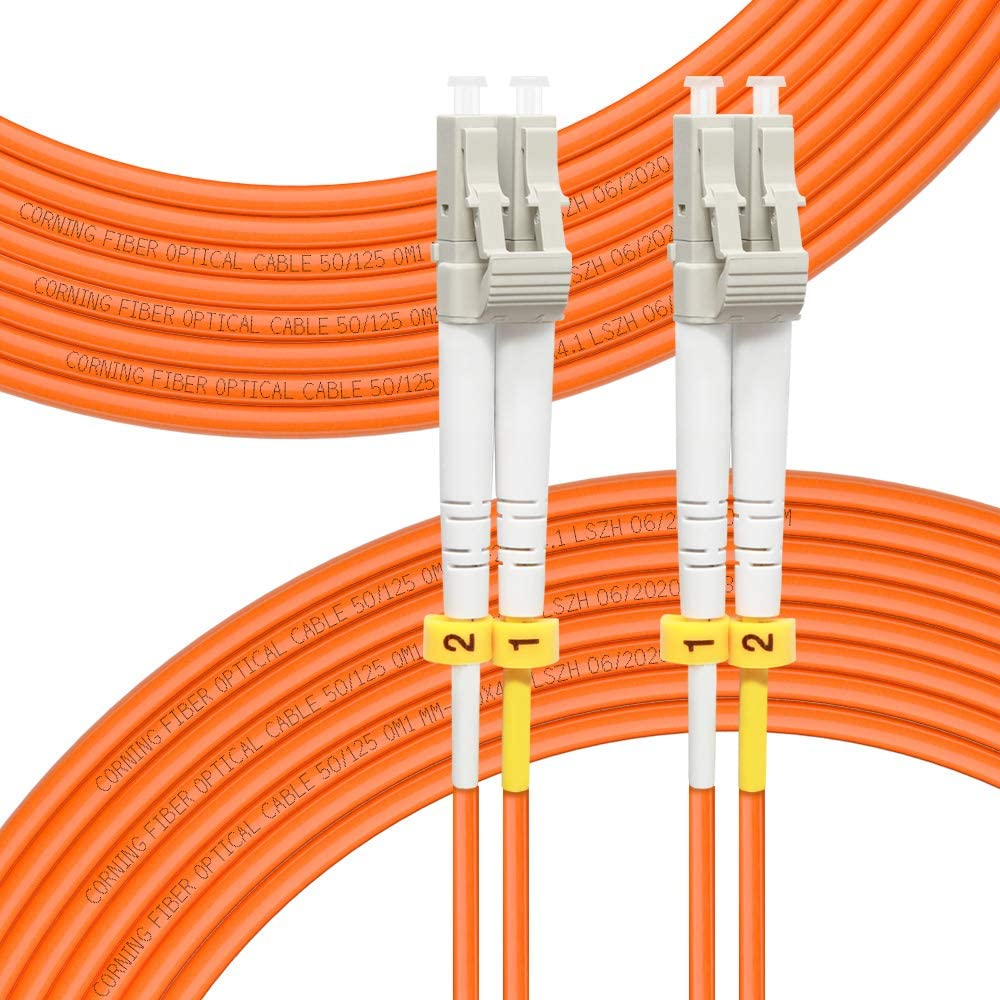 FLYPROFiber-Fiber Patch Cable OM1 Multimode Duplex 50Meter(164FT) LC-LC 50/125um Fiber Optic Cable 10Gb Fiber Patch Cord 50M(164FT)