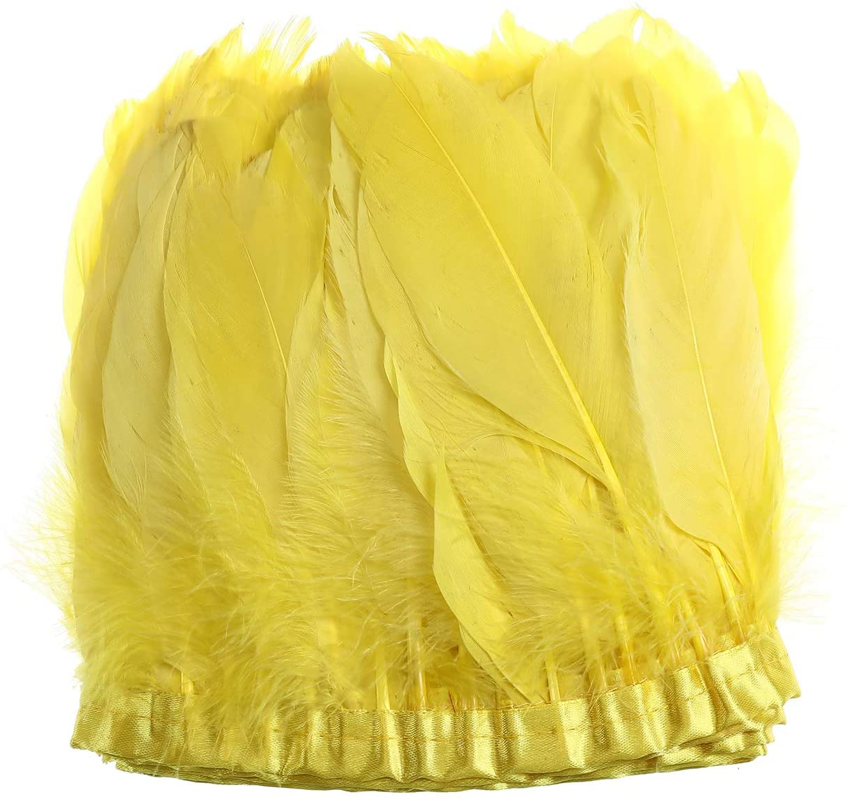 Erikord Duck Goose Feather Fringe Trim for Sewing Crafts Costumes Decoration 6-8 inches Width Pack of 2 Yards(Yellow)