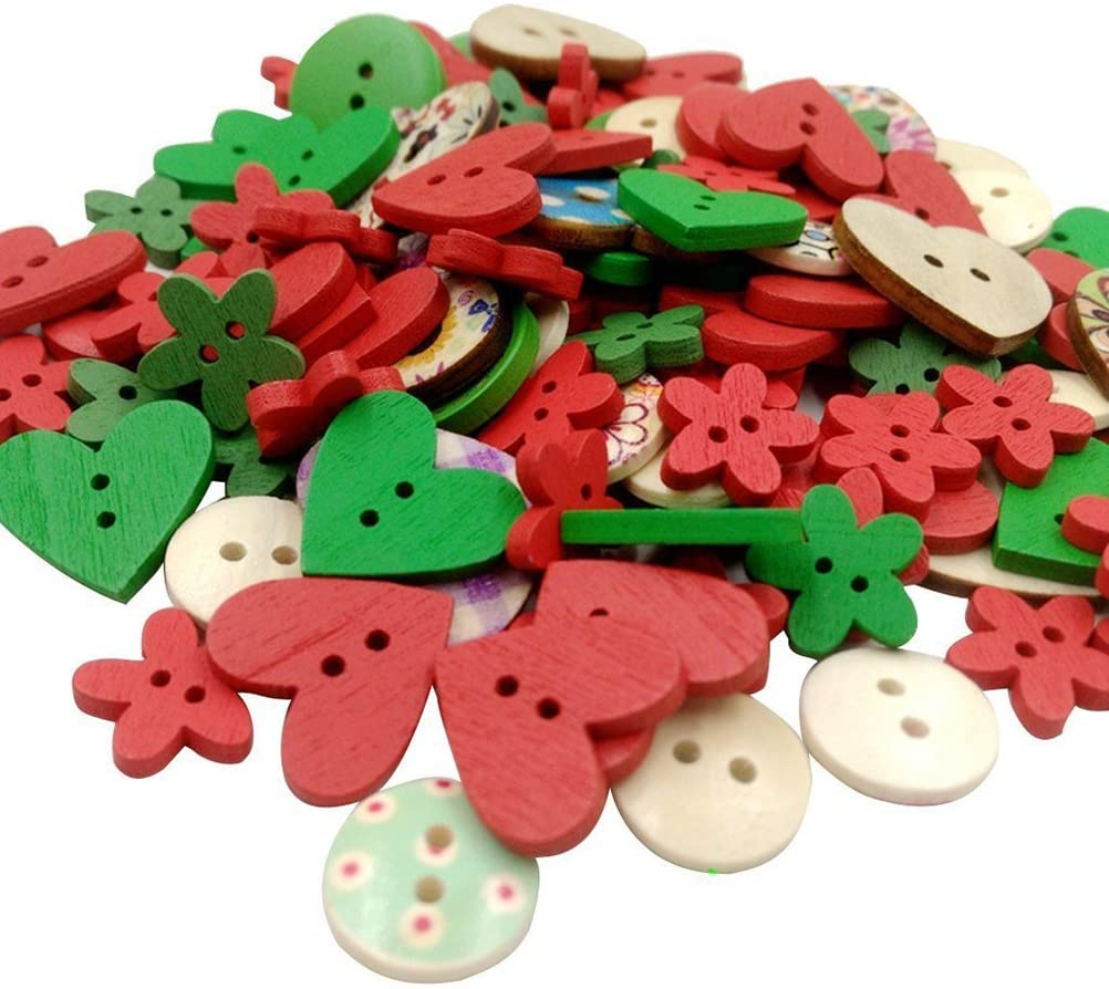 NUOLUX Pack of Wooden Buttons Sewing Button Kid's Scrapbooking DIY Craft Wedding Decoration Christmas (Red)