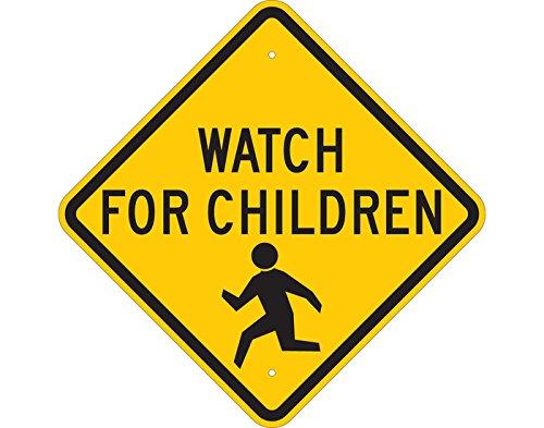 Brady 124588 Traffic Control Sign, Legend Watch For Children, 18 Height x 18 Width, Black on Yellow