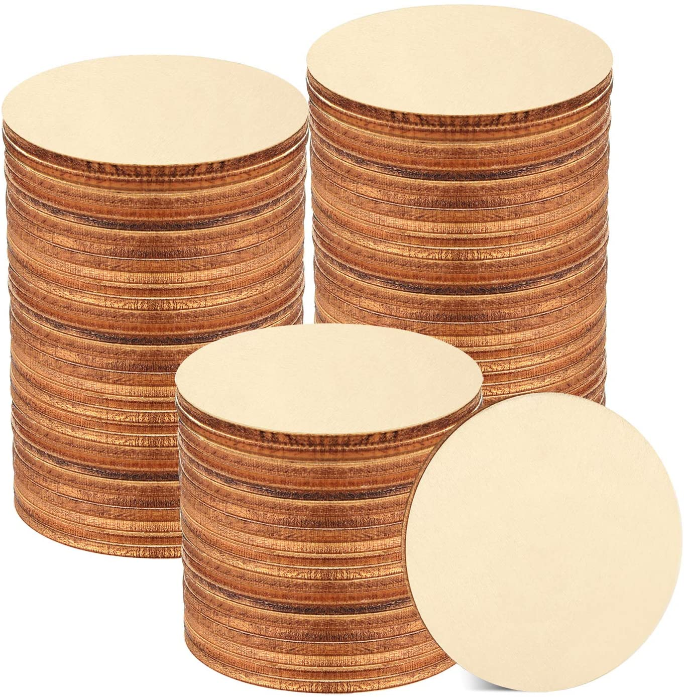 Coopay 120 Pieces 2 Inch Wooden Circles, Unfinished Round Wood Slices Natural Wooden Cutouts for Door Hanger, Painting, Wedding, Home Decoration DIY Wood Craft Supplies