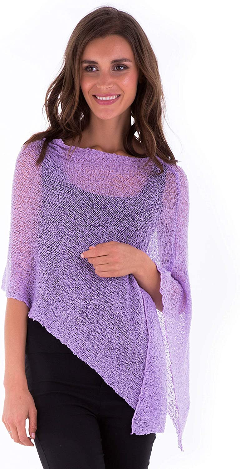 SHU-SHI Womens Sheer Knit Poncho Shrug Lightweight Cover Up One Size Fits Most