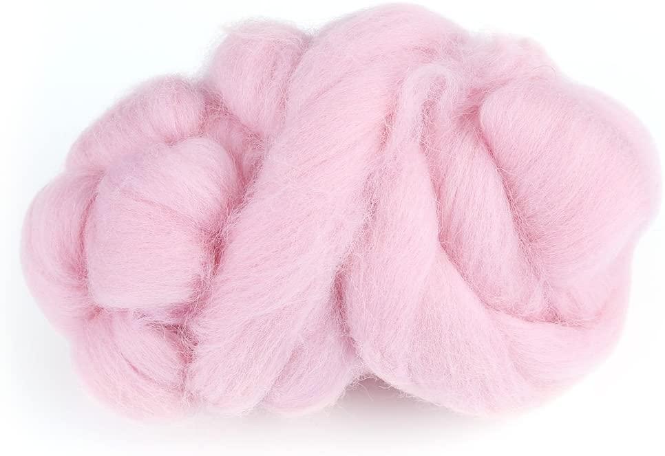 Felting Wool Colorful Needle Felting Wool Roving Wool Felting Supplies for Needle Felting Wool DIY Craft Beginners(Pink)