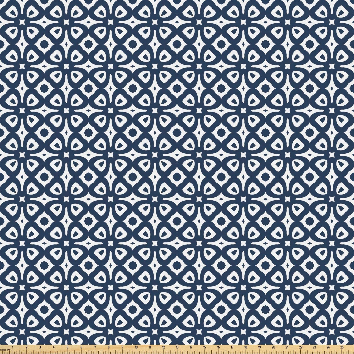Lunarable Geometric Fabric by The Yard, Vintage Geometric Pattern with Continuous Mosaic Tiles Illustration, Microfiber Fabric for Arts and Crafts Textiles & Decor, 1 Yard, Night Blue and White