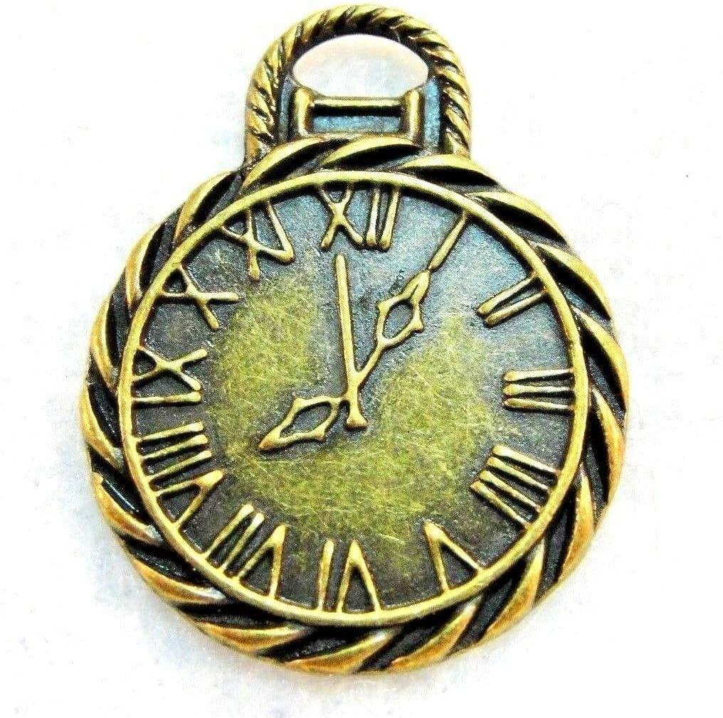 10Pcs. Tibetan Antique Bronze Pocket Watch Clock Charms Pendants Findings PR122 from D&J
