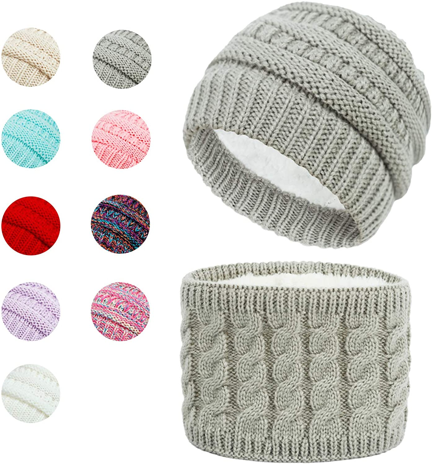 Hzran Winter Hat Scarf Set for Toddler Baby Boy & Girl, Warm Knitted Fleece Lined Baby Beanie Hat