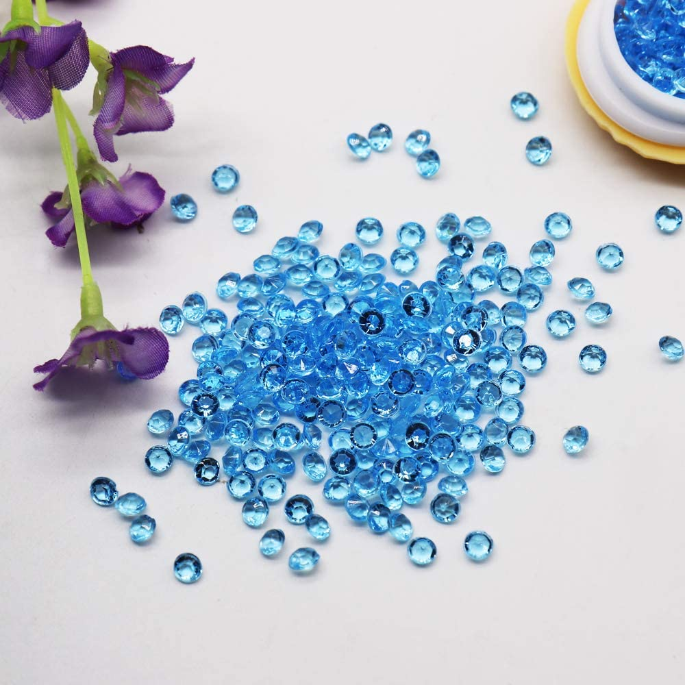 BIT.FLY 4.2mm 10000pcs Acrylic Crystal Diamond Vase Fillers for Table Scatter Wedding Event Party Decoration, Arts & Crafts DIY Ice Rock Treasure Gems - Light Blue