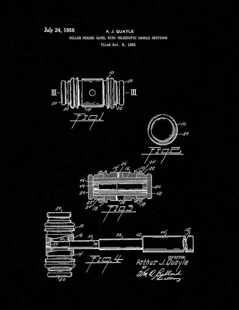 Judge's Gavel Patent Print Black Matte (13