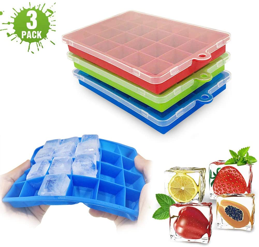 Ice Cube Trays with Lids,3-Pack 72 Ice Cubes Silica Gel Flexible and BPA Free with Spill-Resistant Removable Lid Ice Cube Molds for Chilled Drinks, Whiskey & Cocktails