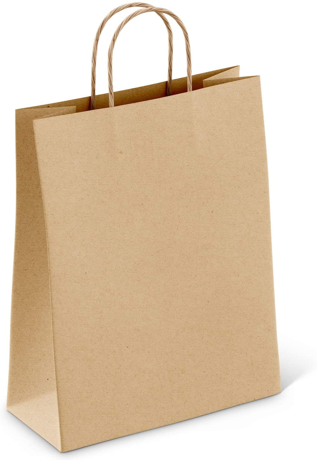 (100 pcs) Kraft Brown Paper Bags w/Handles Reusable Grocery Bags Great Gift Bag Recyclable Shopping Bags Medium Size 10.0