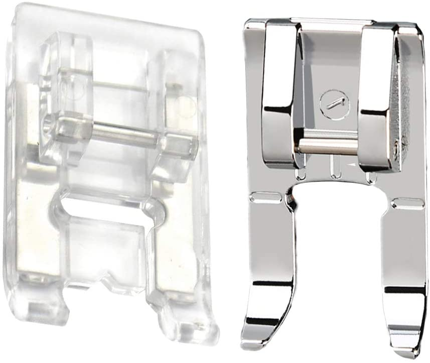 CESUSME Clear Open Toe Satin Stitch Presser Foot Plus Snap On Open Toe Foot Appliqué Sewing Machine Foot - Fit for Singer, Brother, Babylock, Household Low Shank Sewing Machine(2 Styles)