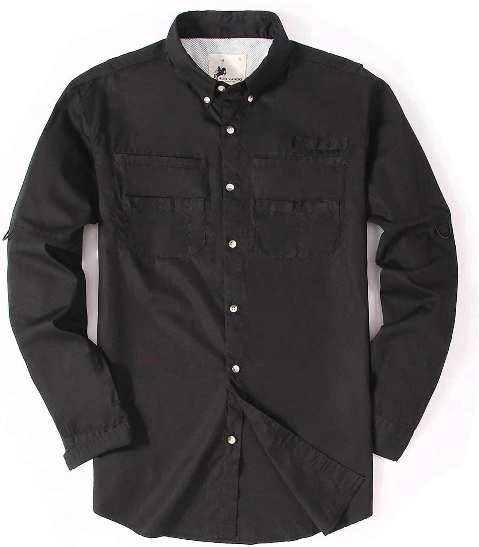 Alex Vando Mens Fishing Shirts Long Sleeve Casual Button Down Cotton Men Shirt