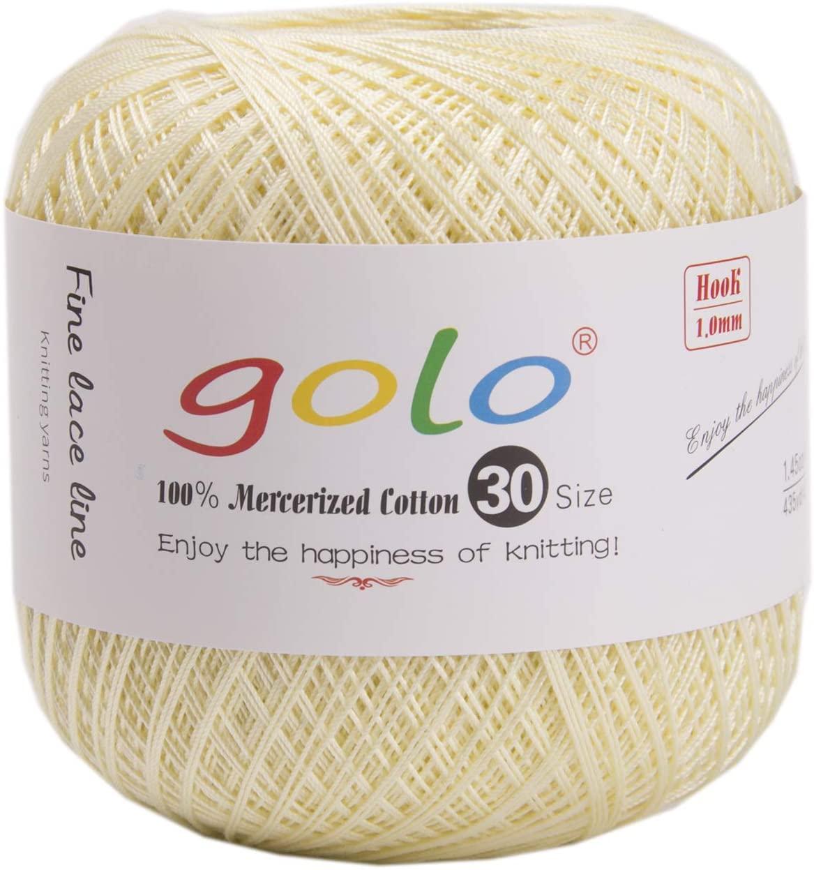 golo Cotton Yarn for Hand Crocheting Crochet Thread Light Yellow