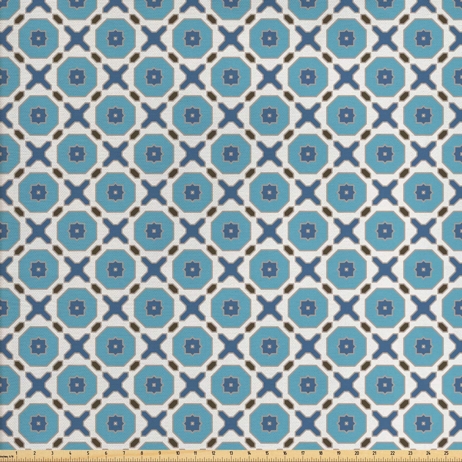 Ambesonne Geometry Fabric by The Yard, Retro Style Mosaic Tiles Inspired Natural Sky Tones, Decorative Fabric for Upholstery and Home Accents, 1 Yard, Coconut Cadet Blue