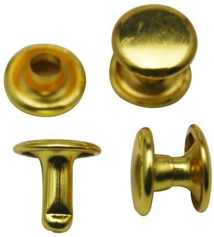 Amanteao Golden Double Cap Rivets Plane Cap 9mm and Post 8mm Pack of 80 Sets