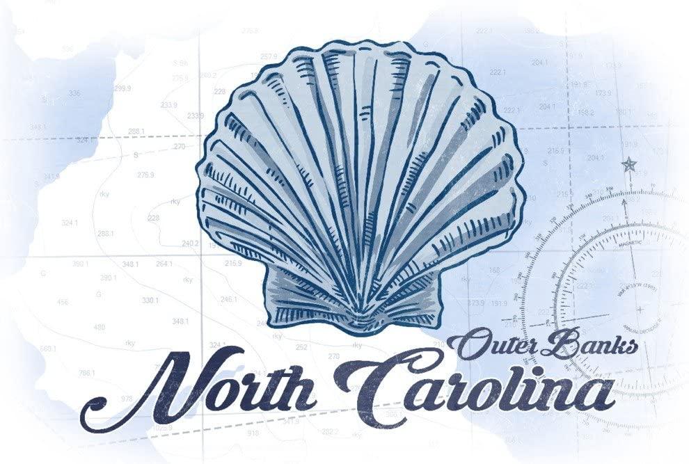 Outer Banks, North Carolina - Scallop Shell - Blue - Coastal Icon (9x12 Art Print, Wall Decor Travel Poster)
