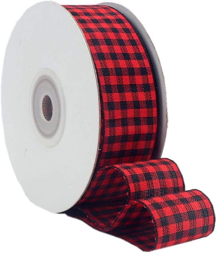VIVIQUEN Gingham Ribbon Checkered Ribbon 1-Inch Wide Taffeta Plaid Ribbon 25 Yard Long 100% Polyester Woven Edge (Red and Black, 1 Inch)