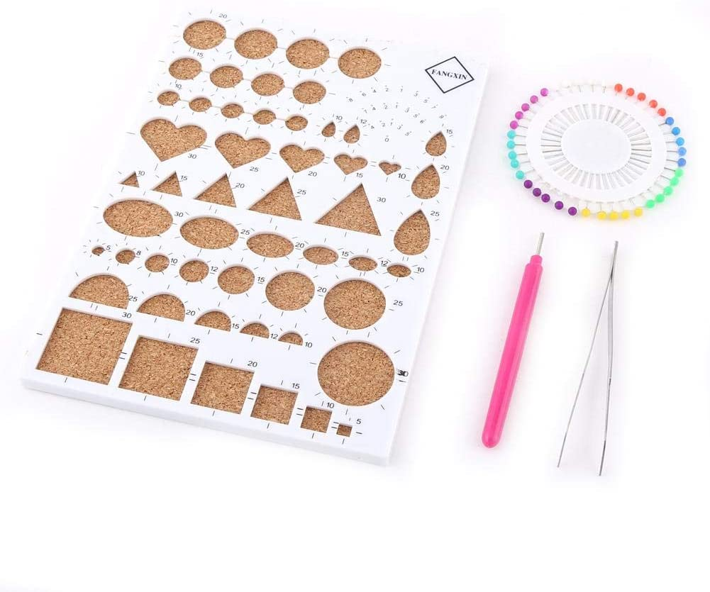 Paper Quilling Kit - VIFER DIY Paper Craft Template Board + Tweezer + Pins + Slotted Pen Quilling Tools Kit 4 Colors (White)