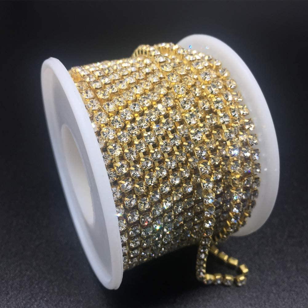 Dowarm 1 Roll 10 Yards Rhinestone Chain, Crystal Rhinestones Close Chain, Sew on Crystal Rhinstone Chain Trim, Crystal Claw Cup Chain Roll (Gold, SS6 2MM)