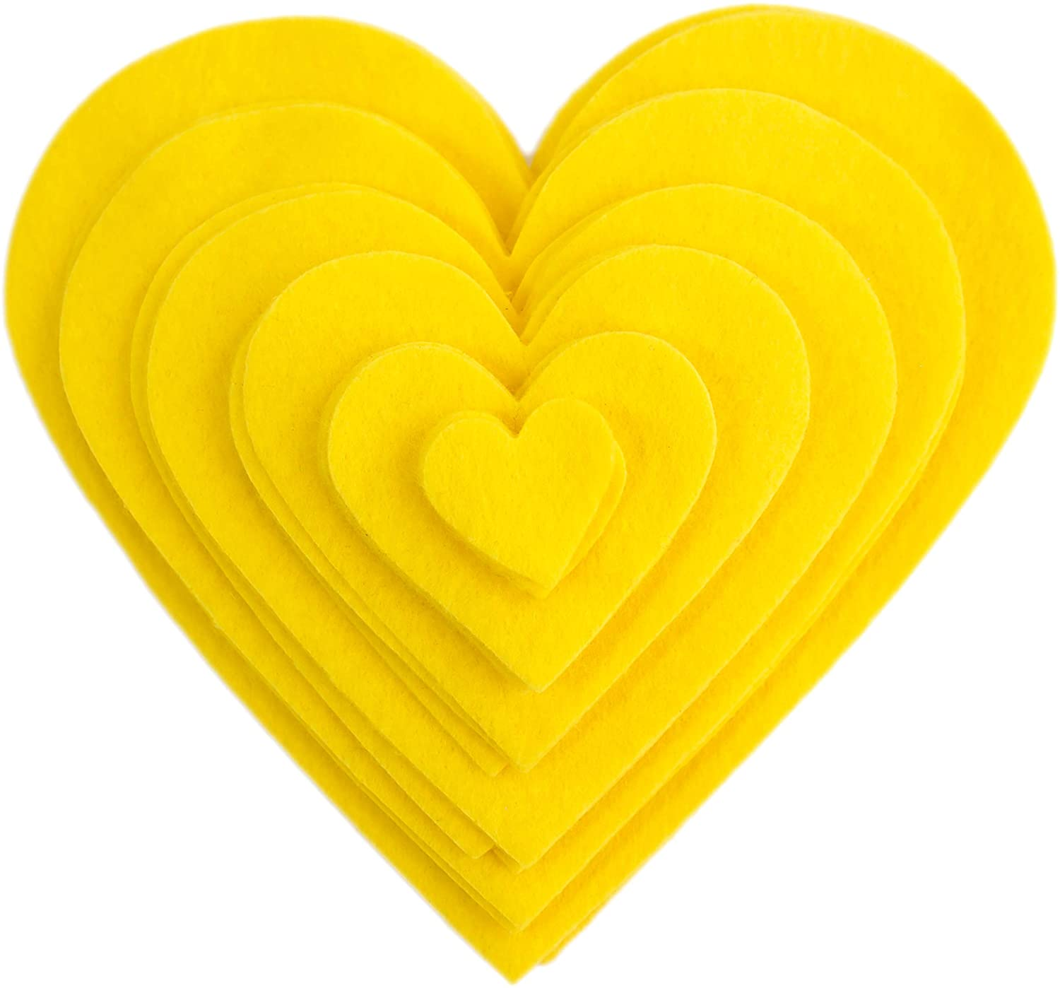 Playfully Ever After 1 to 6 inch Multi-Size Pack 24pc Felt Hearts (Yellow)