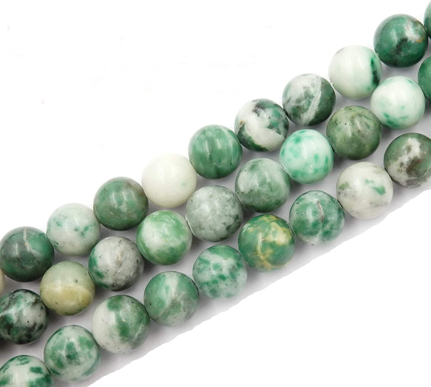 Malahill Natural Stone Beads for Jewelry Making DIY Beads for Bracelets Necklaces 1 Strand Green Spot Jasper 6mm