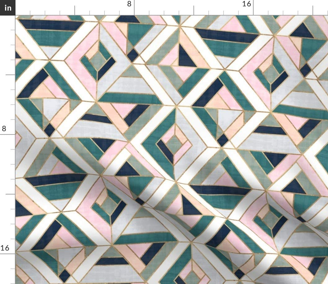 Spoonflower Fabric - Mosaic Pastel Vintage Geo Tile Retro Geometric Shapes Triangles Printed on Petal Signature Cotton Fabric by The Yard - Sewing Quilting Apparel Crafts Decor