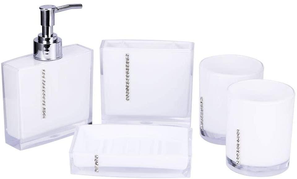 ROBTLE Bathroom Accessory 5 Piece Set, AcrylicGift Set Toothbrush Holder Toothbrush Cup Soap Dispenser Soap Dish Toilet Brush Holder Trash Can Tumbler Straw Set Bathroom (White)