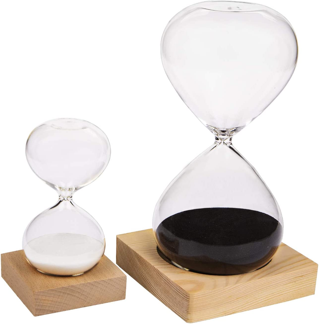 Suwimut 2 Pack Hourglass Sand Timer, 30 Minute and 5 Minute Sand Clock Timers for Office, Home, Desk Decor, Time Management Tool with Wooden Base Stand (Black and White)