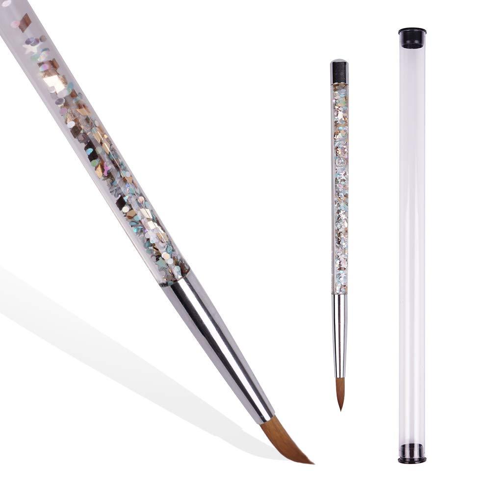NanaDay Acrylic Nail Brush, Nail Art Tip Builder Brush Professional Nail Art Painting Brush Pen With Special Liquid Glitter Handle (10)
