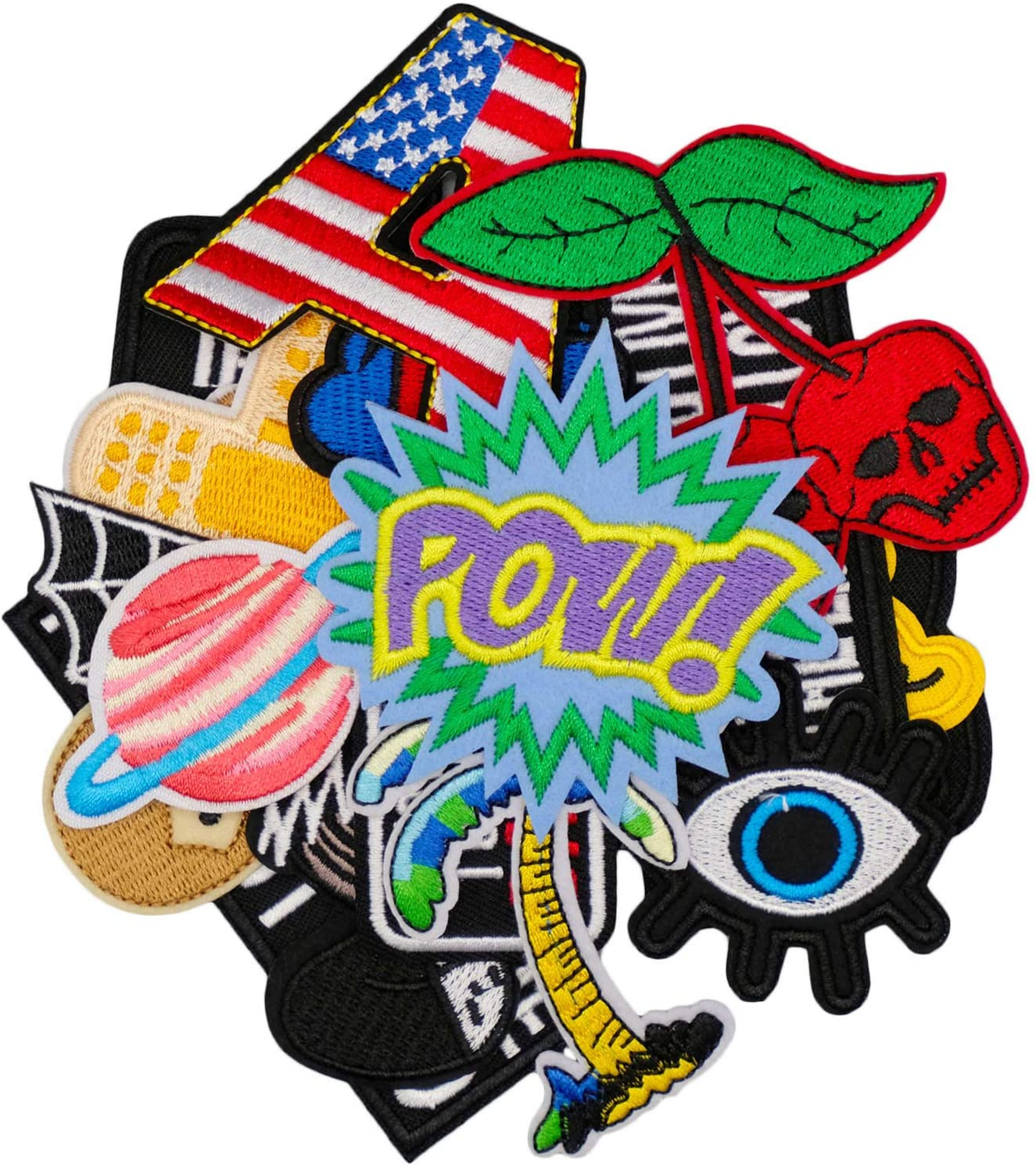 Wlkq 22Pcs Cute Embroidered Patch Accessories Assorted Word Patches Sew On/Iron On Patches Applique for Jackets Jeans Pants Backpacks Clothes Hats (Wappen-36-22pcs)