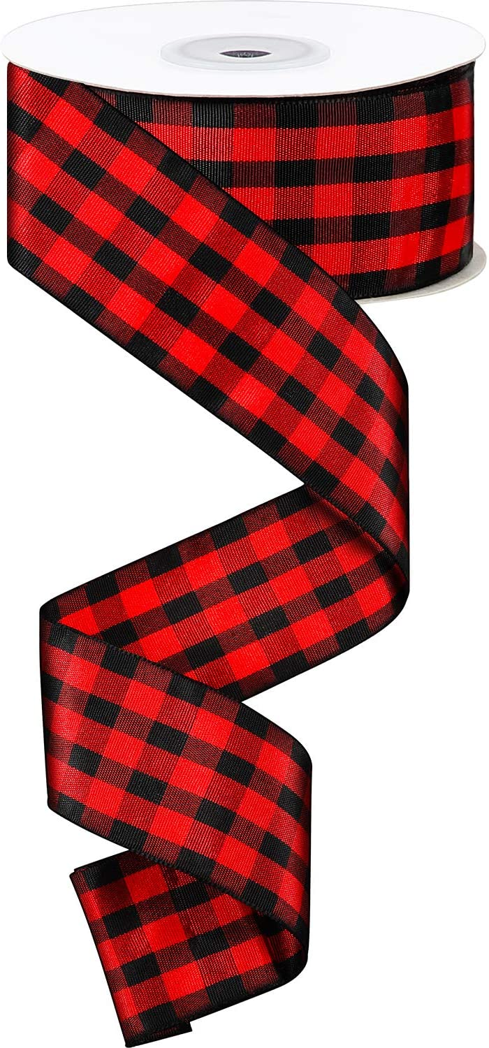 25 Yards 1.6 Inches Wide Red and Black Plaid Ribbon Christmas Ribbon Wrapping Ribbon Check Ribbon for Christmas Crafts Wedding Decoration