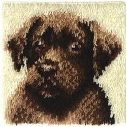 Caron Wonderart (2-Pack) Latch Hook Kit 12 inch x 12 inch Chocolate Dog 426173C
