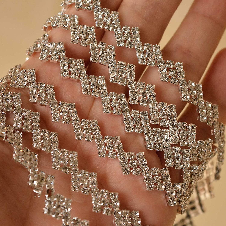 1 Yard Rhinestone Bridal Sash Trim Rhinestone Wedding Belt Applique Sew on Evening Dress Bridal Dress Belt (SDC222-GE) Silver
